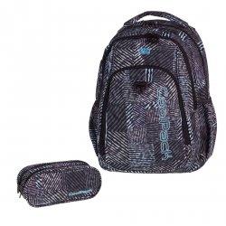 ZESTAW 2 el. Plecak CoolPack STRIKE czarno - biały, MONOCHROMATIC 827 (75510SET2CZ)