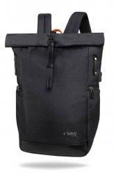 Plecak męski z na laptopa i tablet z USB Roll Black Czarny R-Bag (Z151)