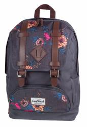 Plecak szkolny, miejski młodzieżowy COOLPACK CITY szary w kolorowe kwiaty GREY DENIM FLOWERS 1018 (72175)