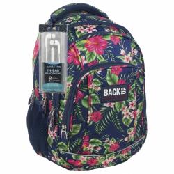 Plecak szkolny młodzieżowy Back UP różowe kwiaty na granatowym tle TROPICAL FLOWERS + słuchawki (PLB1A12)