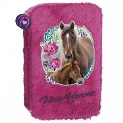 Piórnik dwukomorowy futrzak I LOVE HORSES Konie (PDFKO18)
