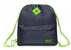 Plecak Sportowy Worek na sznurkach CoolPack URBAN szary z zielonymi dodatkami, GREY LEMON (B1305)