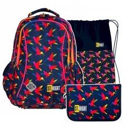 ZESTAW 3 el. Plecak wczesnoszkolny ST.RIGHT w tęczowe ptaki, RAINBOW BIRDS BP26 (22502SET3CZ)