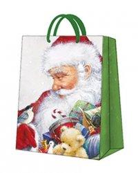 Torebka świąteczna LOVING SANTA rozm S, Paw (AGB030403)