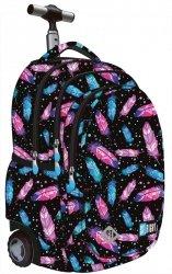 Plecak szkolny młodzieżowy na kółkach ST.RIGHT czarny w kolorowe piórka, FEATHERS TB1 (17706)
