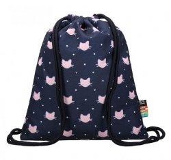 Plecak Worek na sznurkach czarny w różowe kotki, MEOW ST.RIGHT SO11 (23189)