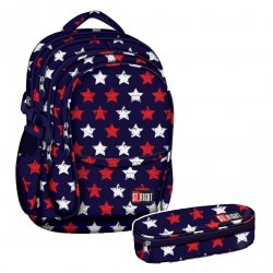 ZESTAW 2 el. Plecak szkolny młodzieżowy ST.RIGHT granatowy w gwiazdki, STARS BP1 (17539SET2CZ)