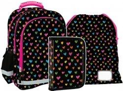 Plecak szkolny w serduszka HEARTS (PL15BDF11SET3CZ) ZESTAW 3 el.