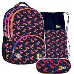 ZESTAW 3 el. Plecak szkolny młodzieżowy ST.RIGHT w tęczowe ptaki, RAINBOW BIRDS BP7 (22496SET3CZ)