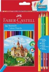 Kredki Zamek FABER CASTELL 36 kolorów + 3 kredki dwustronne + ołówek + temperówka (FC110336)
