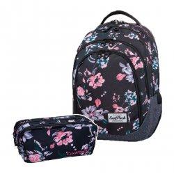 ZESTAW 2 el. Plecak CoolPack DRAFTER w kwiaty na ciemnym tle, DARK ROMANCE (B05020SET2CZ)