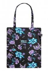 Torba na ramię CoolPack SHOPPER BAG w kwiaty na ciemnym tle, VIOLET DREAM (C79198)