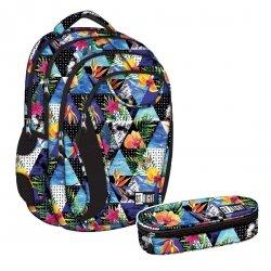 ZESTAW 2 el. Plecak szkolny młodzieżowy ST.RIGHT w egzotyczne wzory PARADISE BP2 (18550SET2CZ)