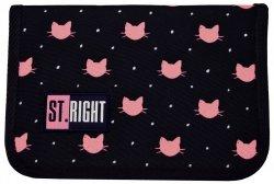 Piórnik St.Right bez wyposażenia czarny w różowe kotki, MEOW dwuklapkowy PC03 (17362)