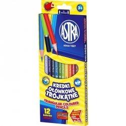 Kredki ołówkowe trójkątne 12 kolorów z temperówką ASTRA (60443)