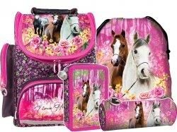 ZESTAW 4 el. Tornister szkolny ergonomiczny I LOVE HORSES Konie (TEMBKO15SET4CZ)