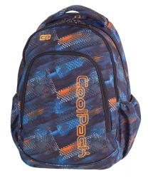 Plecak szkolny młodzieżowy COOLPACK PRIME w niebiesko - pomarańczowe wzory, TIRE TRACKS 1064 (79549)