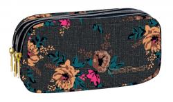 Piórnik trzykomorowy saszetka COOLPACK PRIMUS szary w kolorowe kwiaty GREY DENIM FLOWERS 1073 (80330)