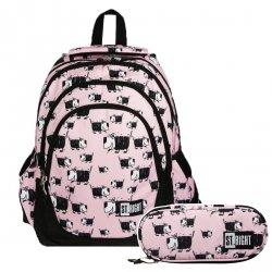 ZESTAW 2 el. Plecak szkolny młodzieżowy ST.RIGHT w pieski, DOGS BP6 (20690SET2CZ)