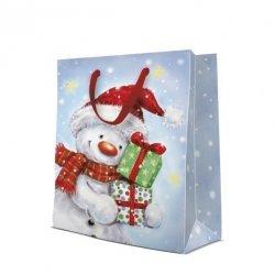 Torebka świąteczna FUNNY SNOWMAN rozm L, Paw (AGB2000802)