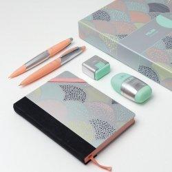 ZESTAW UPOMINKOWY SREBRNY notes długopis ołówek automatyczny gumka temperówka (08736)