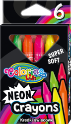 Kredki świecowe NEONOWE trójkątne 6 kolorów COLORINO (92050PTR)