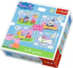 TREFL Puzzle 4 w 1 Świnka Peppa, PODRÓŻE PEPPY (34246)