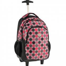 Plecak szkolny Młodzieżowy  na kółkach w różowo - czarne GROCHY (16997D)