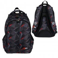 Plecak szkolny młodzieżowy ST.RIGHT czarna abstrakcja 3D, 3D BLACK ABSTRACTION BP57 (26388)