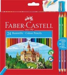 Kredki Zamek FABER CASTELL 24 kolory + 3 kredki dwustronne + temperówka (FC110324)