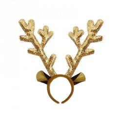 Opaska świąteczna na głowę ROGI RENIFERA złota (0111-0020)