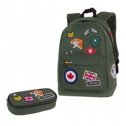 ZESTAW 2 el. Plecak CoolPack CROSS zielony w znaczki, BADGES GREEN (89753CPSET2CZ)