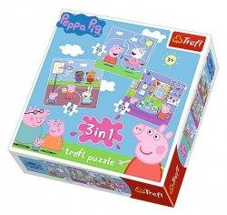 TREFL Puzzle 3 w 1 Zabawy w szkole, Świnka Peppa (34813)