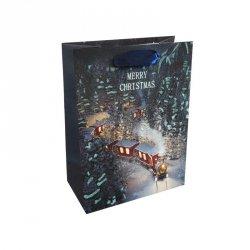 Torebka świąteczna na prezent ZIMOWY POCIĄG Incood. (0071-0232)