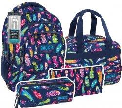 ZESTAW 4 el. Plecak szkolny młodzieżowy Back UP kolorowe piórka FEATHERS + słuchawki (PLB1C24)