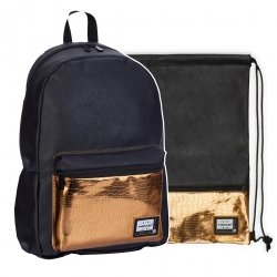 ZESTAW 2 el. Plecak HEAD czarny ze złotymi dodatkami, GOLD FASHION HD-351 (502019085SET2CZ)
