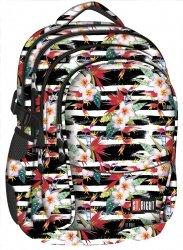 Plecak szkolny młodzieżowy ST.RIGHT bały w pasy i kwiaty, TROPICAL STRIPES BP1 (18390)