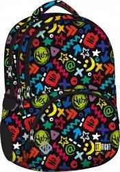 Plecak szkolny młodzieżowy ST.RIGHT czarny w kolorowe symbole graficzne, YES OR NO BP07 (12848)