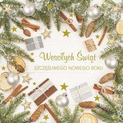 Kartka świąteczna kwadratowa BOŻE NARODZENIE 15 x 15 cm + koperta (43940)