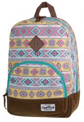 Plecak szkolny, miejski młodzieżowy COOLPACK CLASSIC w jasne etniczne wzory AZTEC 1011 (72045)