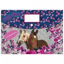 Teczka kopertowa A4 na zatrzask I LOVE HORSES Konie (TKA4KO13)