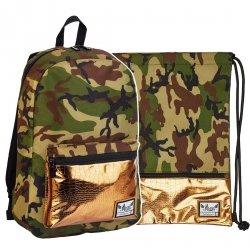 ZESTAW 2 el. Plecak HASH moro FASHION GOLD HS-126 (502019083SET2CZ)