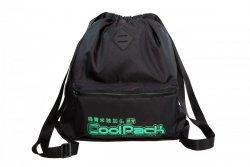 Plecak Sportowy Worek na sznurkach CoolPack URBAN czarny z zielonymi dodatkami, SUPER GREEN (A46119)