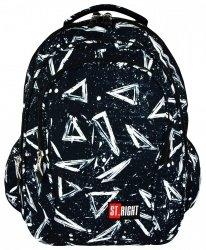 Plecak szkolny młodzieżowy ST.RIGHT czarny w białe trójkąty, 3ANGLE BP1 (18055)