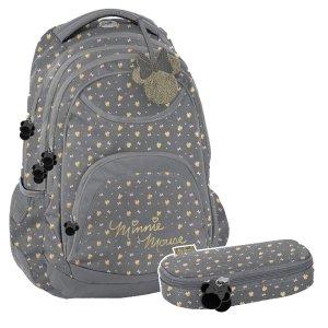 ZESTAW 2 el. Plecak szkolny młodzieżowy Myszka Minnie, MINNIE GOLD Paso (DISZ-2708/16SET2CZ)