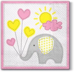 Serwetki dekoracyjne Cute Elephant SŁONIK 33x33 cm (SDL064613)