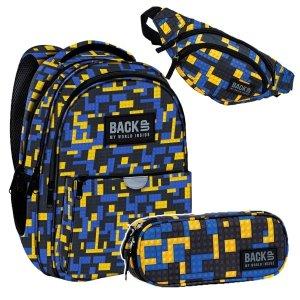 ZESTAW 3 el. Plecak wczesnoszkolny BackUP 22 L klocki, BRICKS (PLB3P52SET3CZ)