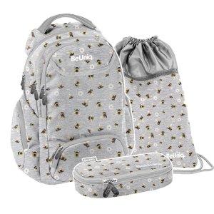 ZESTAW 3 el. Plecak szkolny młodzieżowy pszczółki, BEE Paso (PPEE20-2908/16SET3CZ)