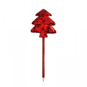 Długopis świąteczny z cekinową dekoracją CZERWONA CHOINKA INCOOD.  (0106-0268)