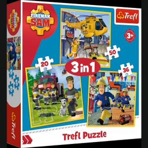 TREFL Puzzle 3 w 1 Strażak Sam w akcji (34844)